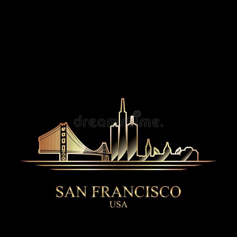 Силуэт золота Сан-Франциско на черной предпосылке иллюстрация вектора