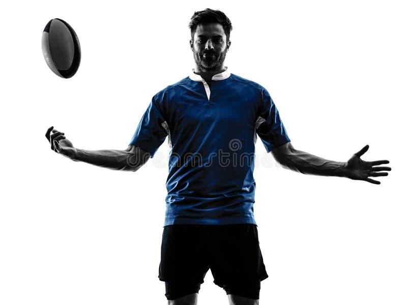 Силуэт игрока человека рэгби стоковая фотография