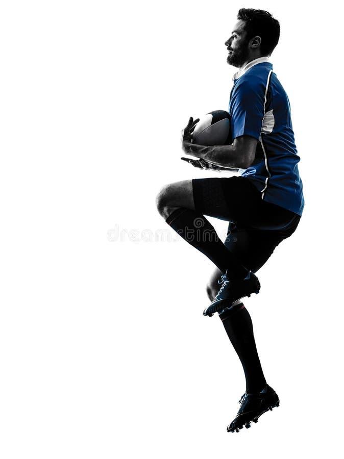 Силуэт игрока человека рэгби стоковое изображение