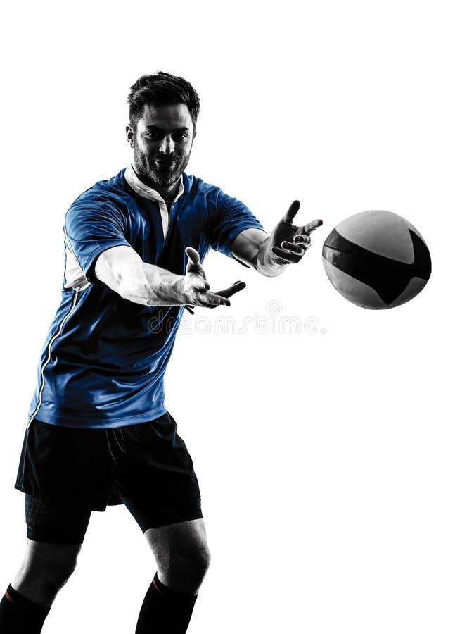 Силуэт игрока человека рэгби стоковые фото