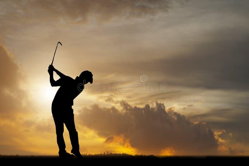 Силуэт игроков в гольф ударил подметать и держит поле для гольфа в s стоковое фото