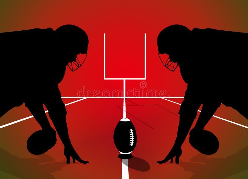 Силуэт игроков рэгби американского футбола иллюстрация вектора