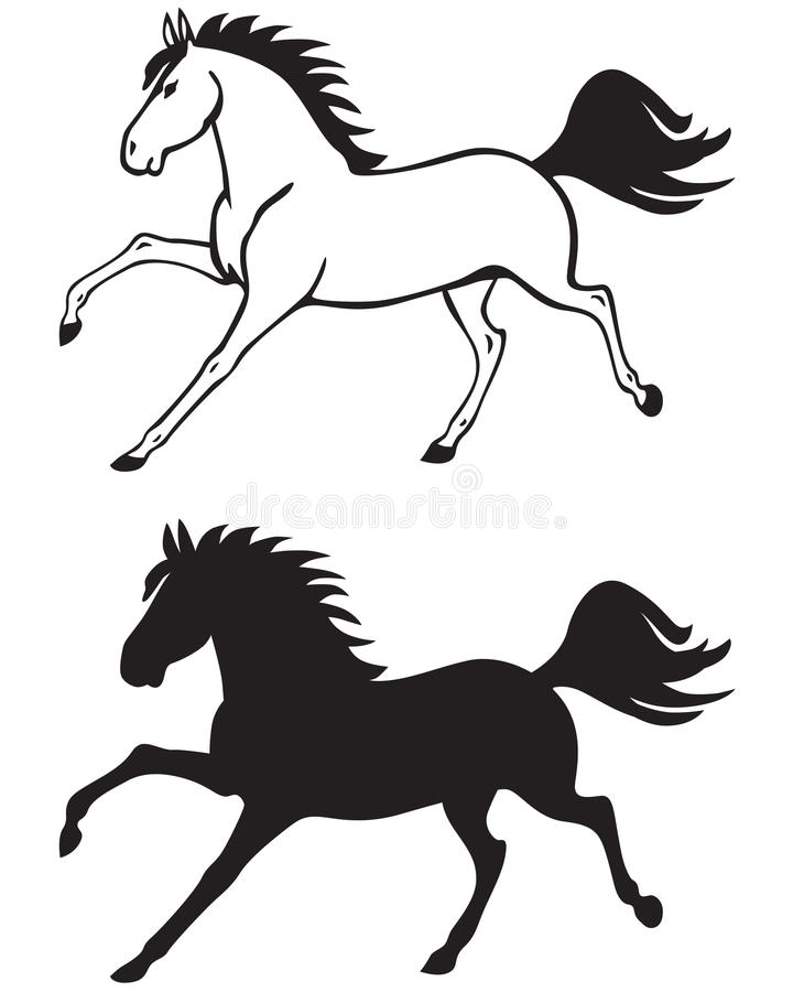 Galloping лошадь иллюстрация вектора