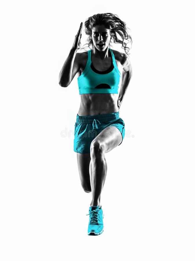Силуэт идущего jogger бегуна женщины jogging стоковые изображения rf