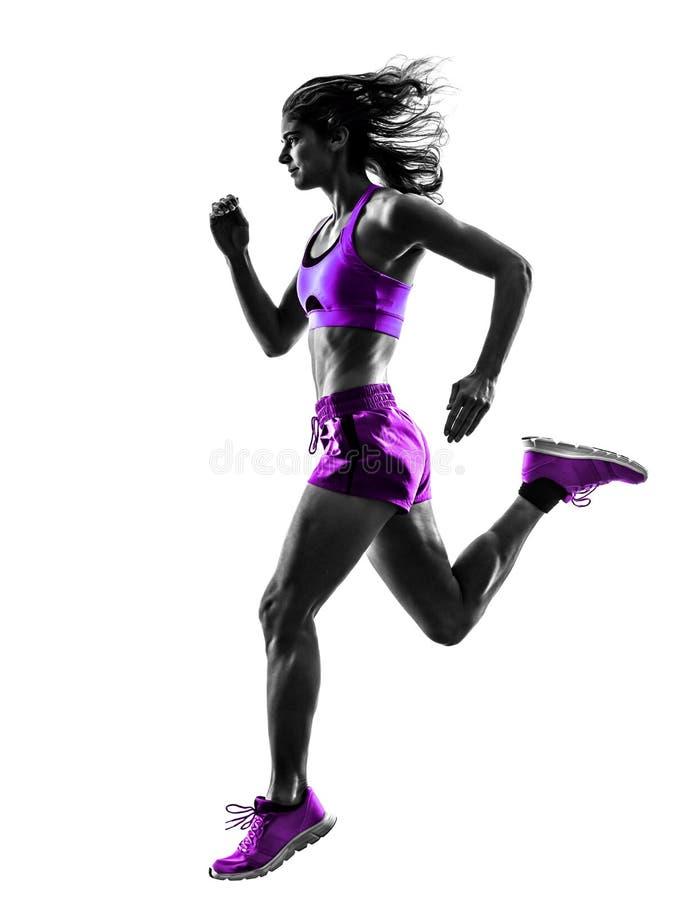 Силуэт идущего jogger бегуна женщины jogging стоковые фотографии rf