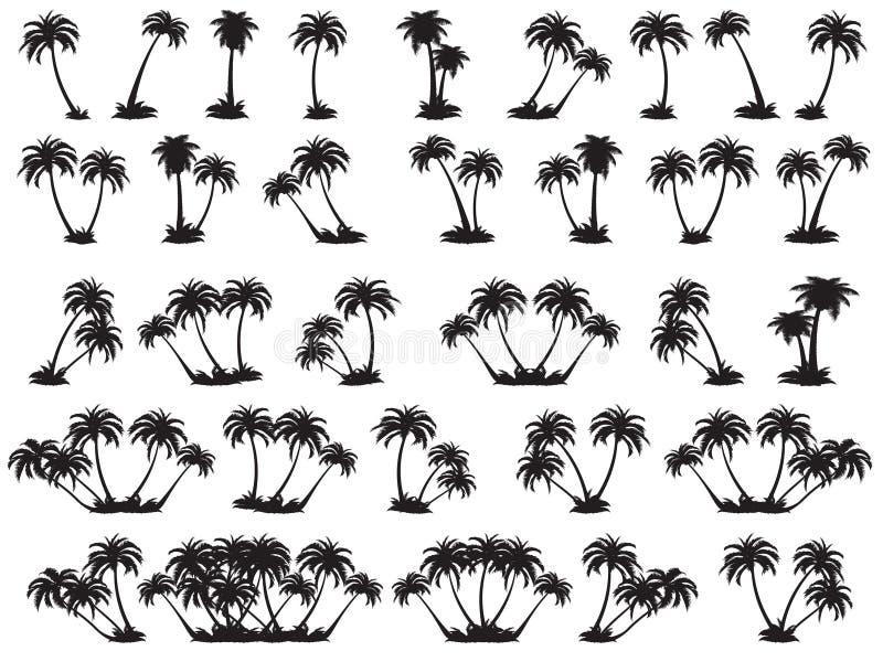 Силуэт иллюстраций вектора пальм иллюстрация вектора