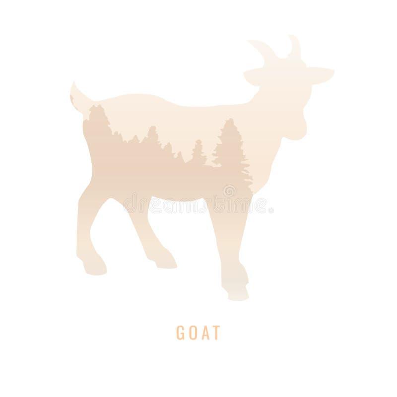 Силуэт козы внутри соснового леса, яркие цвета /anim иллюстрация вектора