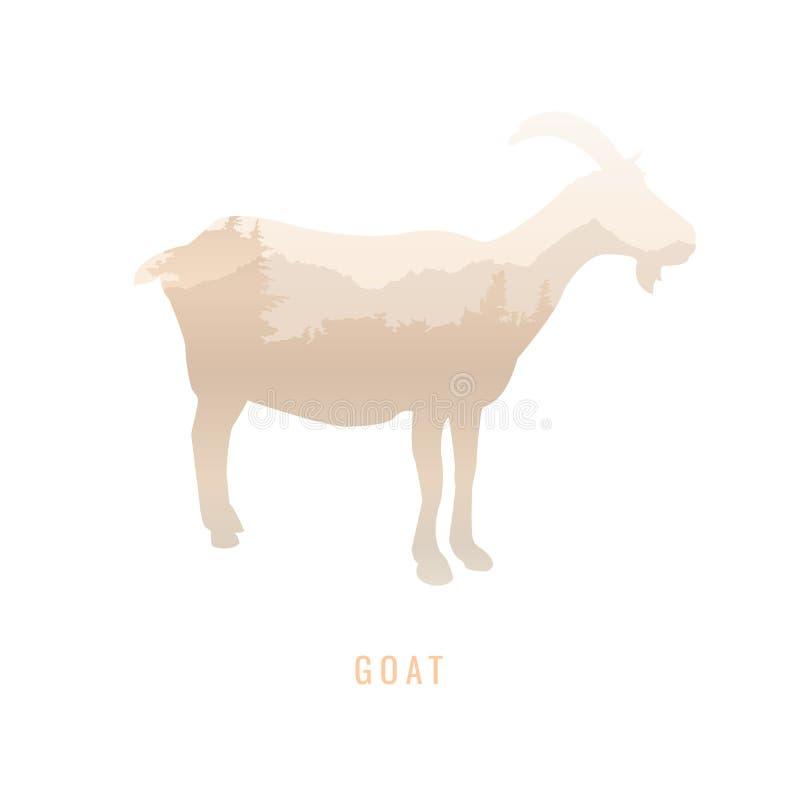 Силуэт козы внутри соснового леса, яркие цвета /anim иллюстрация штока
