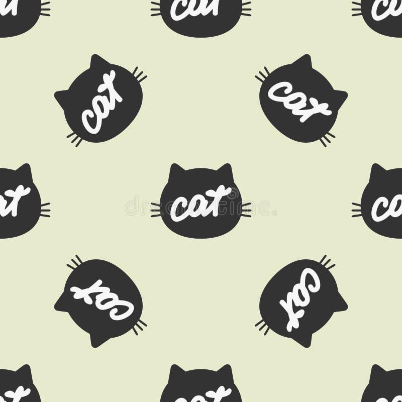Силуэт кошачьей головы с рукописным котом текста покрасьте картину безшовно иллюстрация штока
