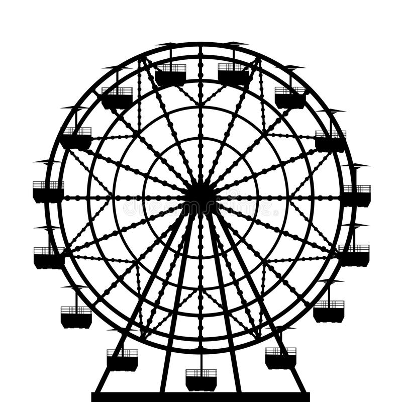 Силуэт колеса Ferris иллюстрация вектора