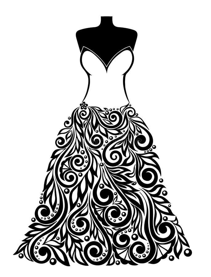 Силуэт красивого платья с флористическим elem иллюстрация штока