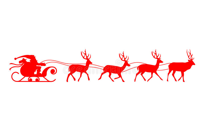 Силуэт красного цвета северного оленя саней Санты иллюстрация вектора