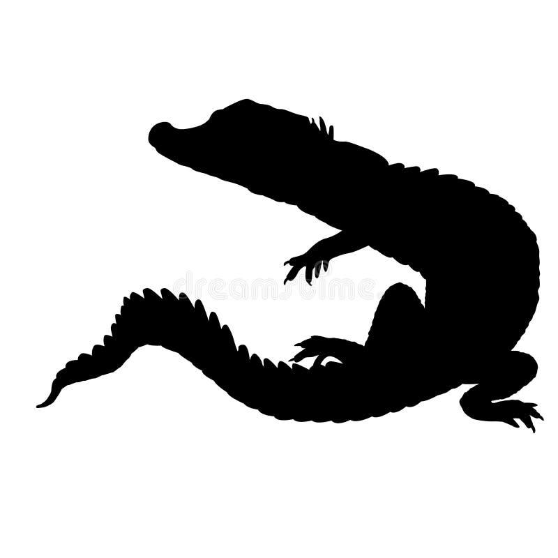 Силуэт крокодила черный стоковые изображения rf
