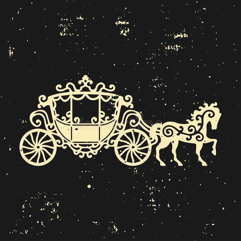 Силуэт Лошад-экипажа с лошадью Иллюстрация вектора brougham в стиле барокко Винтажный экипаж на темном backgrou иллюстрация штока