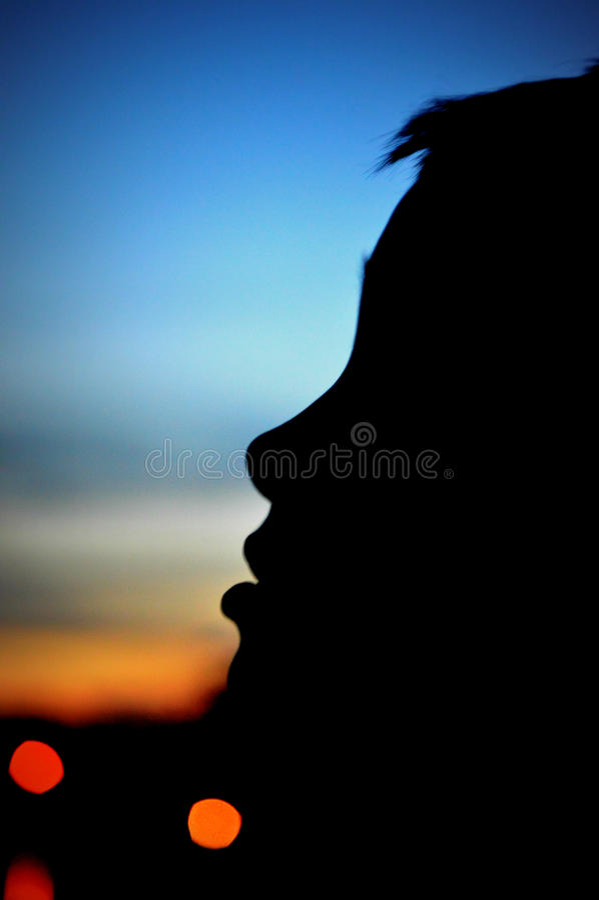Силуэт мальчика смотря вверх на небе вечера стоковое изображение