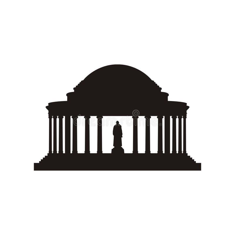 Силуэт мемориала Jefferson стоковые изображения