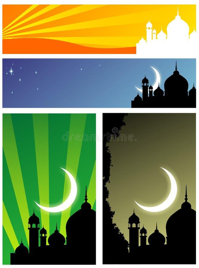 Силуэт мечети стоковые фотографии rf