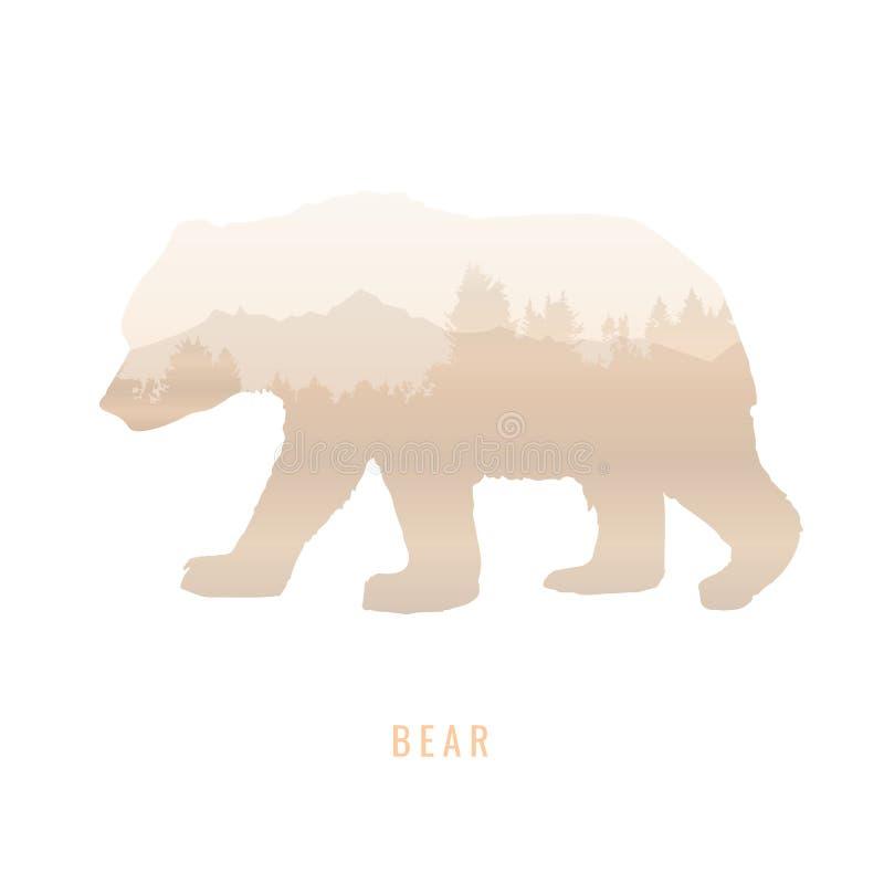 Силуэт медведя внутри соснового леса, яркие цвета /anim бесплатная иллюстрация
