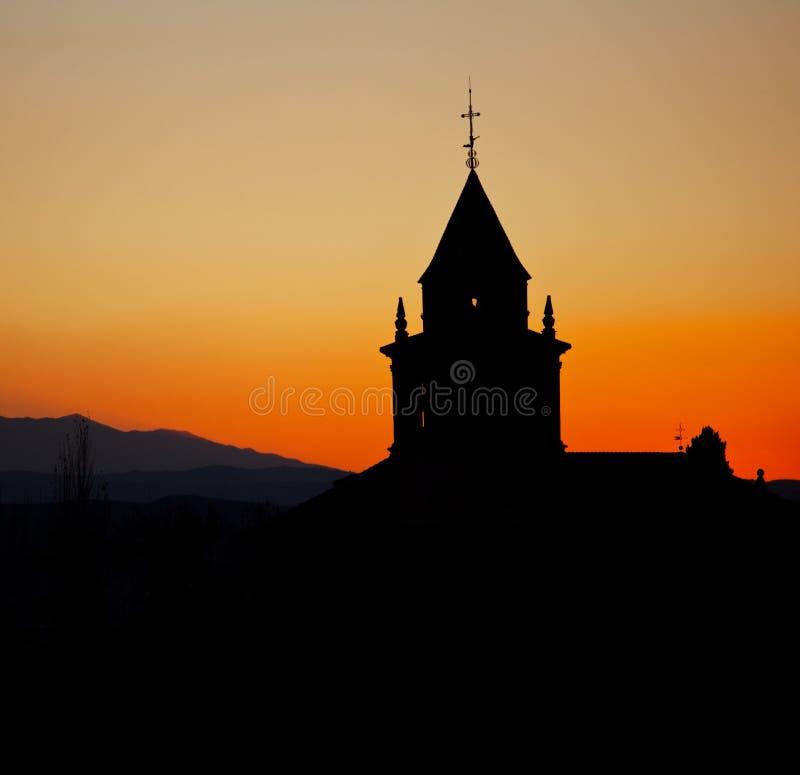 Силуэт монастыря стоковое изображение