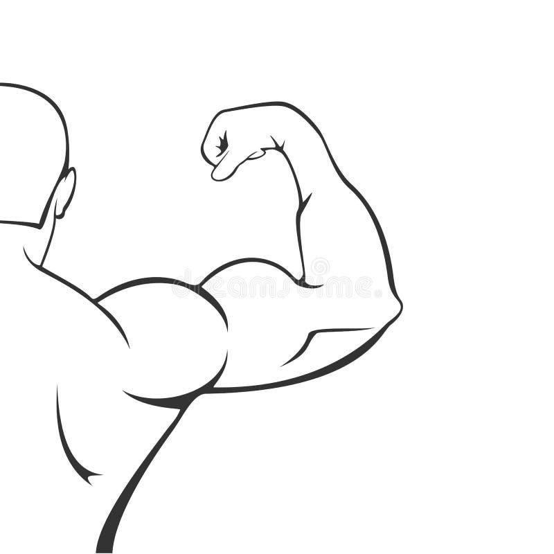 Силуэт мышечного человека на белой предпосылке бесплатная иллюстрация