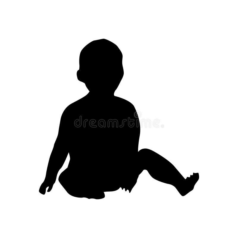 Силуэт младенца черный иллюстрация вектора