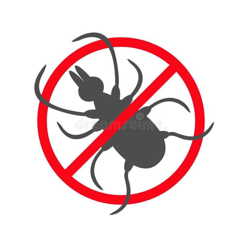 Силуэт насекомого тикания Значок тиканий оленей лепты Опасный черный паразит Запрет отсутствие предупредительного знака стопа сим бесплатная иллюстрация
