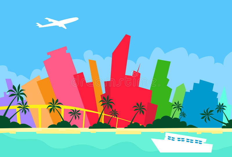 Силуэт небоскреба города горизонта конспекта Майами иллюстрация вектора