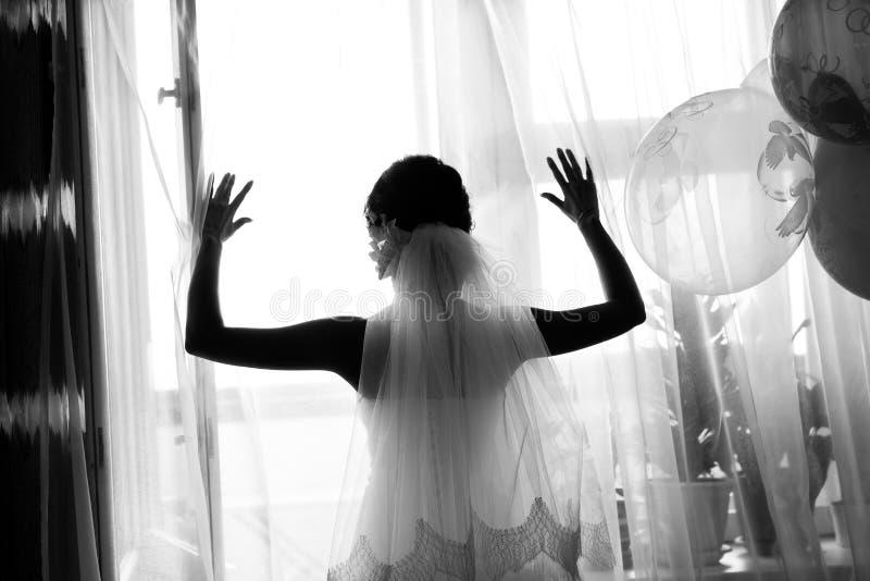 Силуэт невесты стоковое изображение