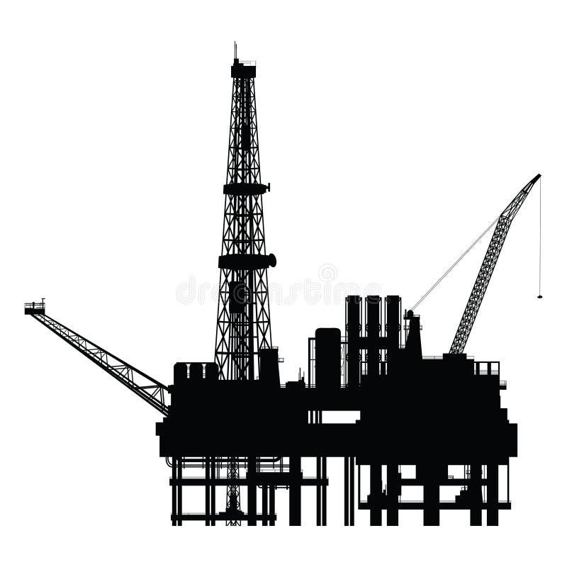Силуэт нефтяной платформы,  иллюстрация вектора