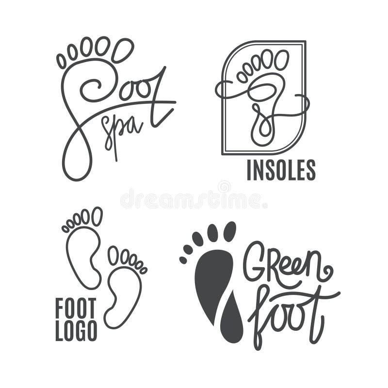 Силуэт ноги Логотип медицинского центра, протезный салон Босые ноги знака иллюстрация вектора