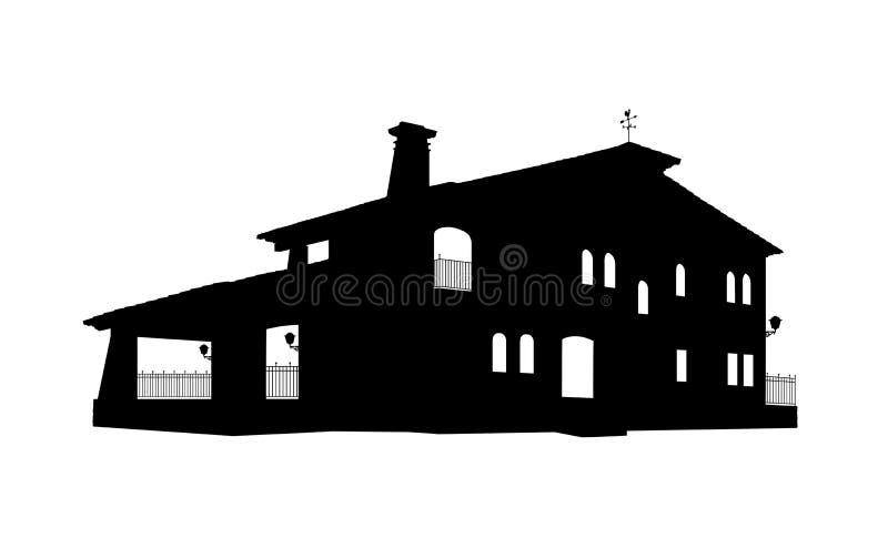 Силуэт дома старого стиля большой бесплатная иллюстрация