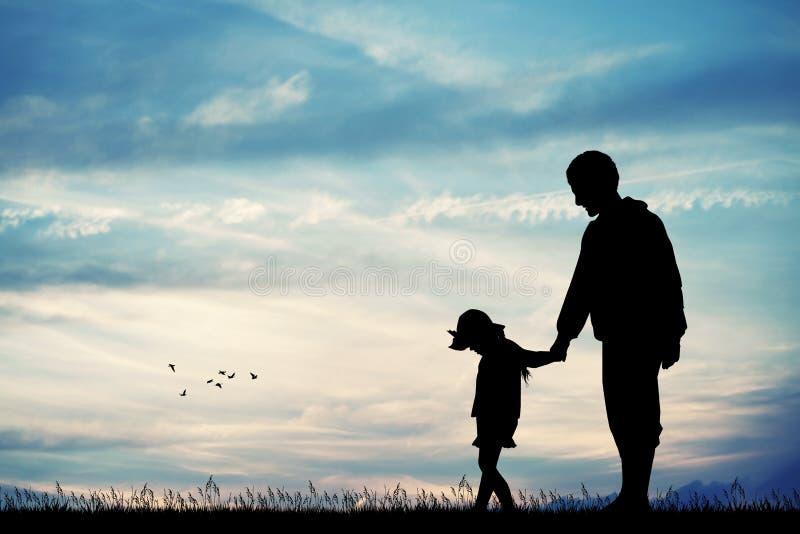 Силуэт отца и ребенка на заходе солнца иллюстрация вектора