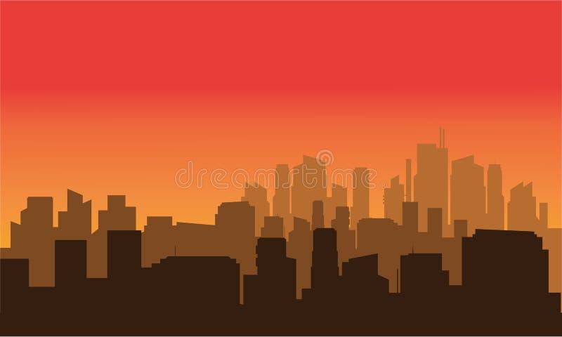 Силуэт очень красивого города иллюстрация вектора
