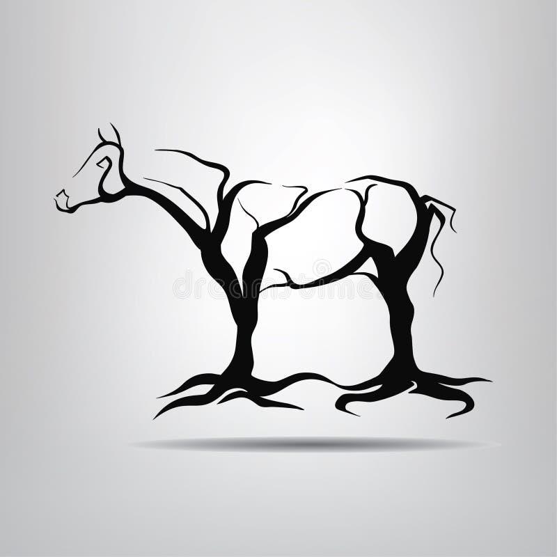 Силуэт лошади в форме деревьев иллюстрация штока