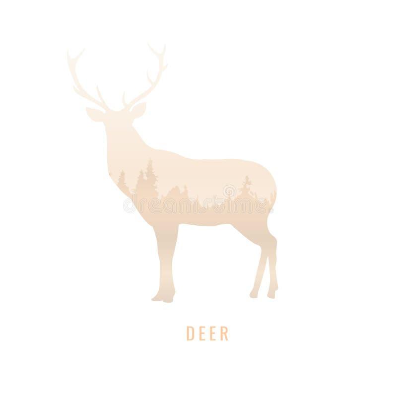 Силуэт оленя внутри соснового леса, яркий цвет бесплатная иллюстрация