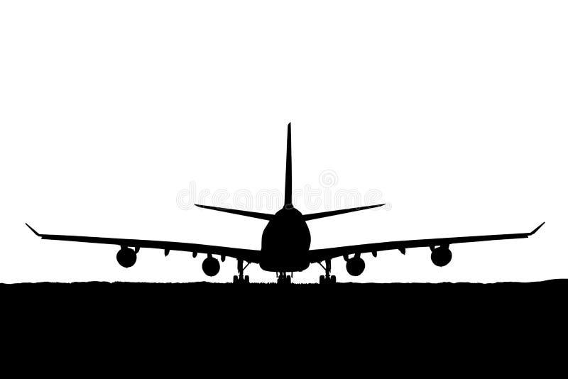 Силуэт пассажирского самолета, авиакомпании на белой предпосылке иллюстрация вектора