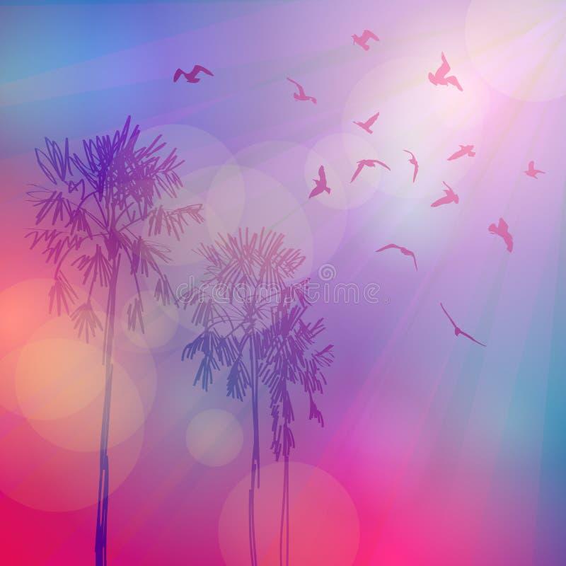 Силуэт пальм и птиц, пинка неба бесплатная иллюстрация