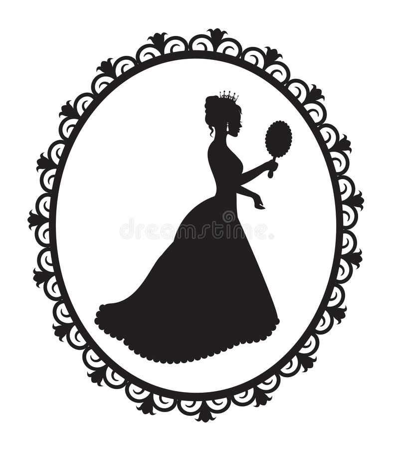 Силуэт принцессы в рамке бесплатная иллюстрация