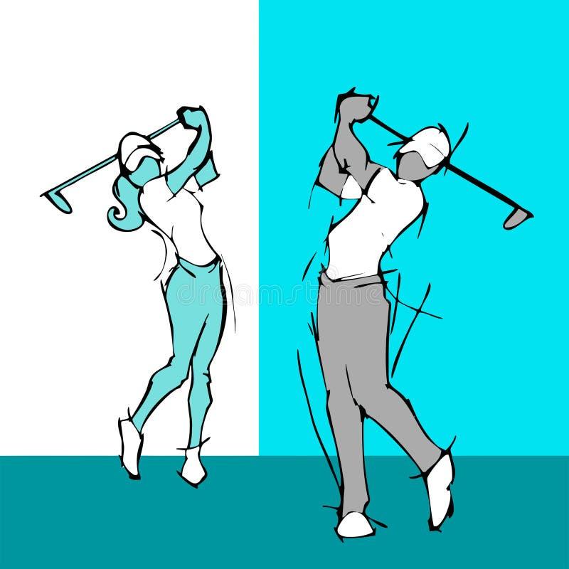 силуэт притяжки руки пар игрока гольфа бесплатная иллюстрация