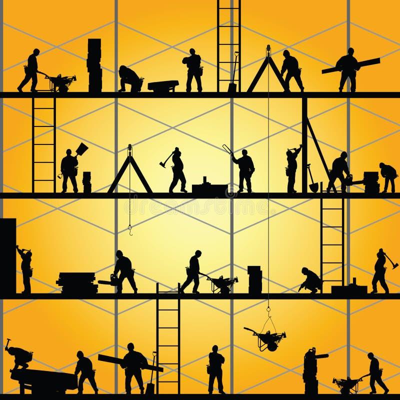 Силуэт рабочий-строителя на векторе работы стоковые фотографии rf