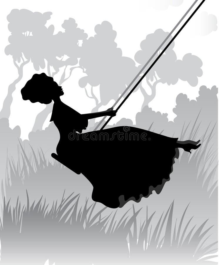 Силуэт романтичной девушки на качании иллюстрация вектора