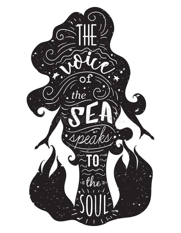 Силуэт русалки с вдохновляющей цитатой бесплатная иллюстрация