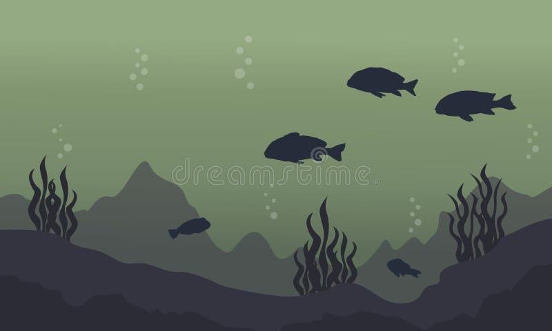 Силуэт рыб на подводном ландшафте иллюстрация штока