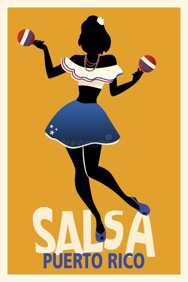Силуэт сальсы танцев девушки с maracas бесплатная иллюстрация