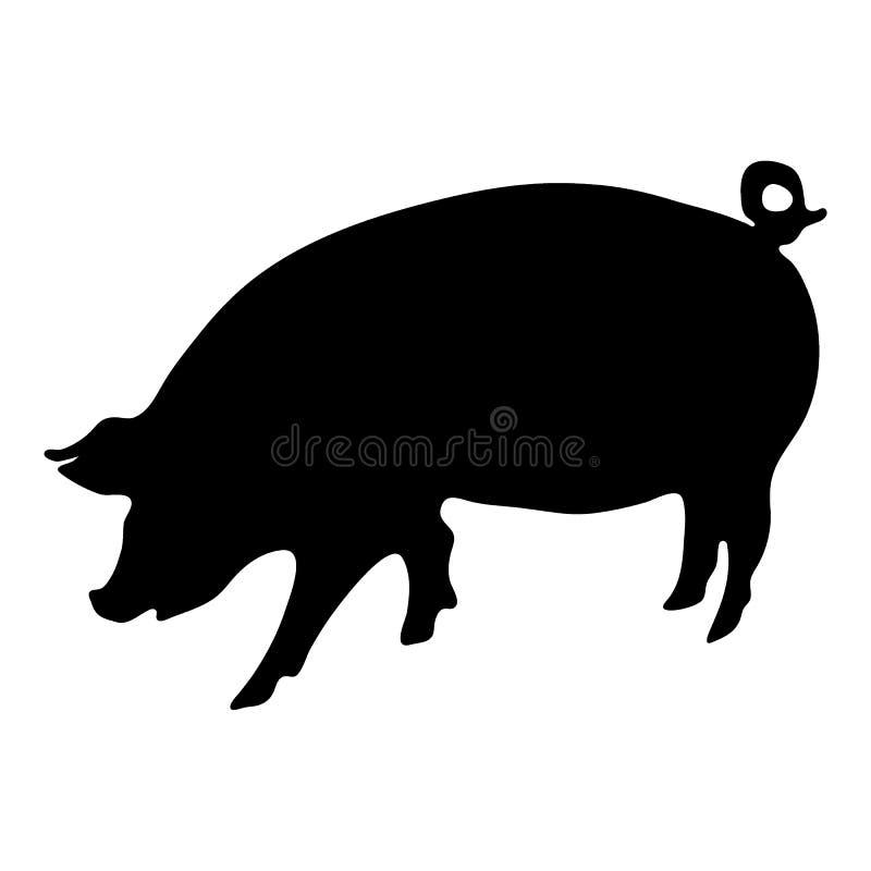 Силуэт свиньи иллюстрация штока