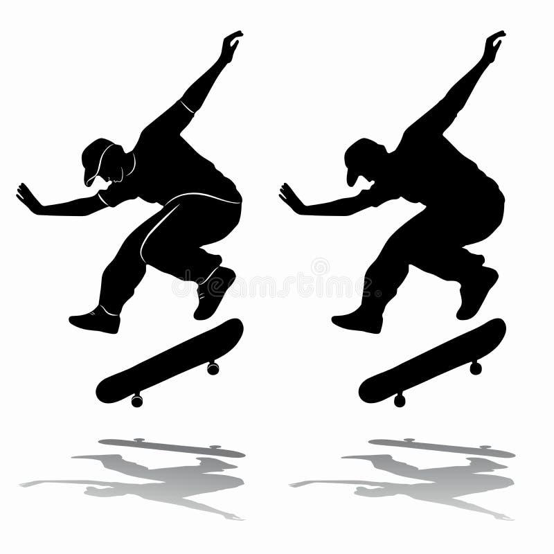 Силуэт скейтбордиста, притяжки вектора иллюстрация штока
