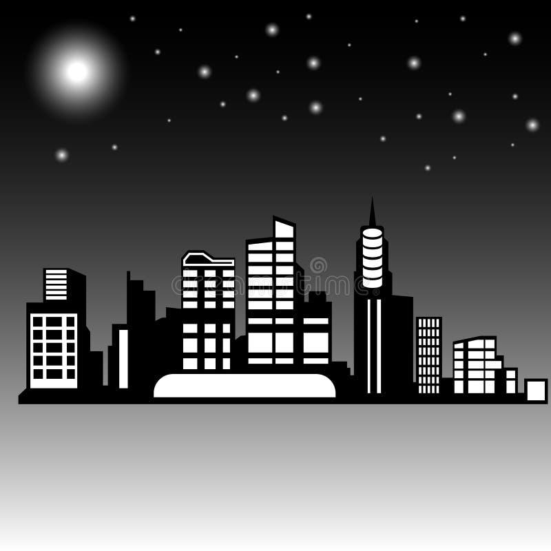 Силуэт современного города на ноче стоковое изображение