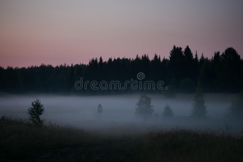 Силуэт старика на крае темного леса стоковая фотография rf