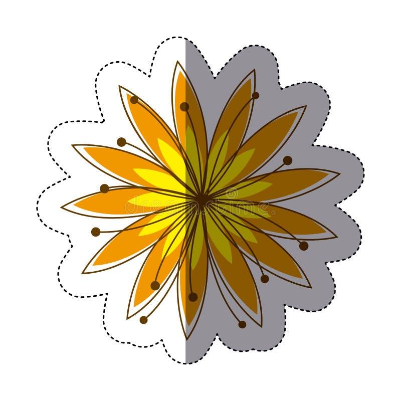 силуэт стикера цвета с желтым цветком иллюстрация штока