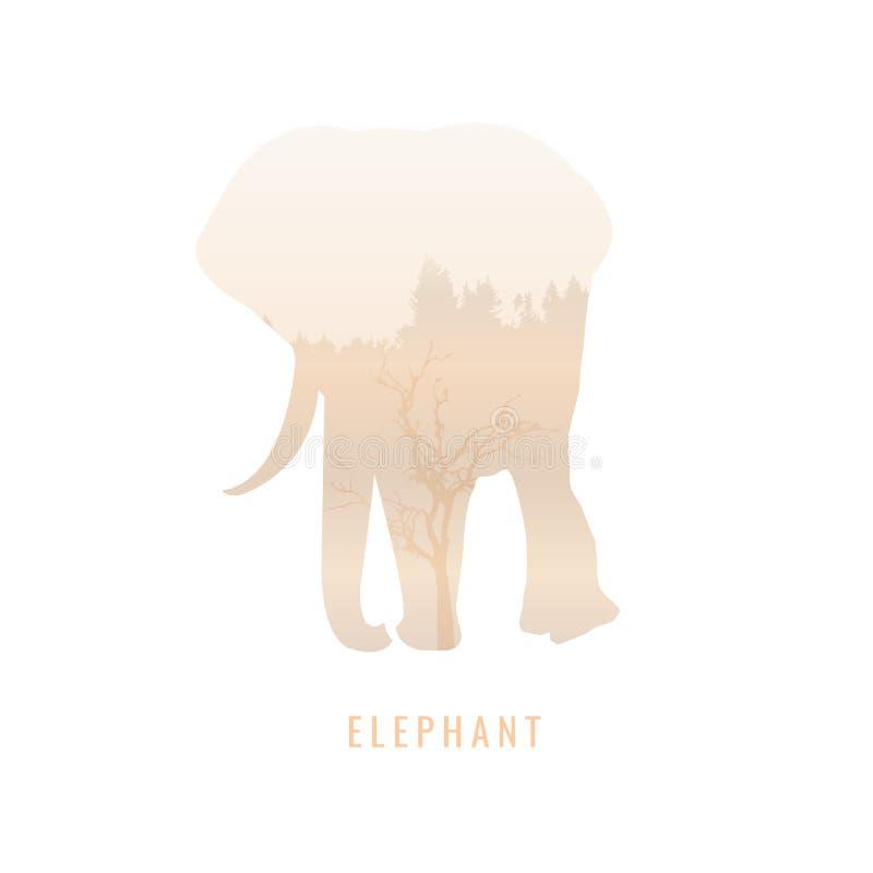 Силуэт слона внутри соснового леса, яркие цвета/ иллюстрация штока